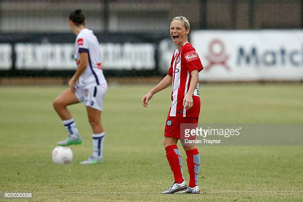 Jess Fishlock of Melbourne City reacts during the round 10 WLeague match between Melbourne City FC and Perth Glory at CBSmith Reserve on December 20...
