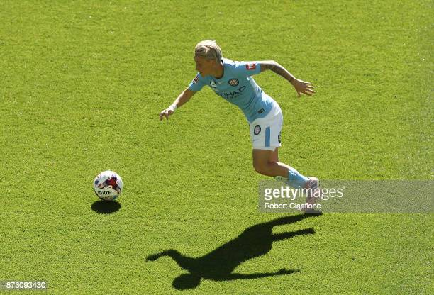 Jess Fishlock of Melbourne City runs with the ball during the round three WLeague match between Melbourne City and the Newcastle Jets at AAMI Park on...