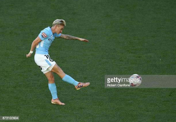 Jess Fishlock of Melbourne City shoot on goal during the round three WLeague match between Melbourne City and the Newcastle Jets at AAMI Park on...