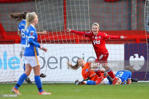Jess Fishlock of Reading celebrates after scoring their sides second goal past Cecilie Fiskerstrand during the Barclays FA Women's Super League match...