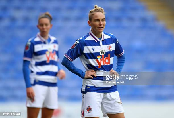 Jess Fishlock of Reading during the Barclays FA Women's Super League match between Reading Women and Chelsea Women at Madejski Stadium on January 10,...