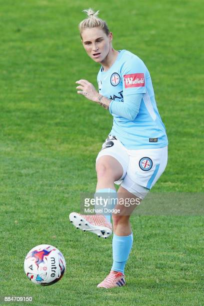Jess Fishlock of the City kicks the ball during the round six WLeague match between Melbourne City and Adelaide United at CB Smith Reserve on...