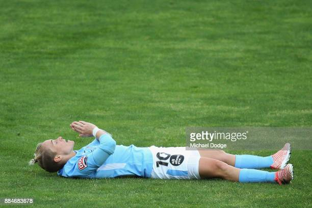 Jess Fishlock of the City reacts after receiving a penalty during the round six WLeague match between Melbourne City and Adelaide United at CB Smith...