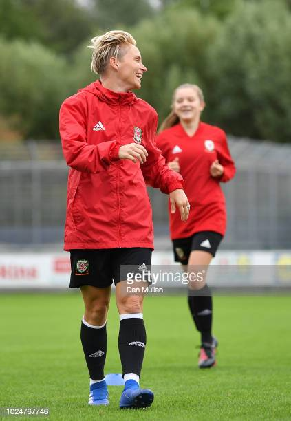 Jess Fishlock of Wales warms up during a Wales Women training session at Dragon Park on August 28 2018 in Newport Wales
