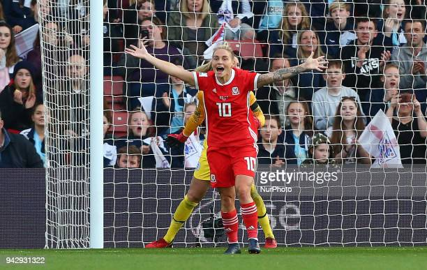 Jess Fishlock of Wales Women claiming a goal during 2019 FIFA Women's World Cup Group 1 qualifier match between England and Wales at StMary's...