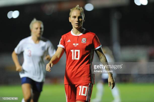 Jess Fishlock of Wales Women during the FIFA Women's World Cup Qualifier match between Wales and England at Rodney Parade on August 31 2018 in...