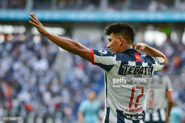 Jesús Gallardo of Monterrey celebrates after scoring his team's second goal during the 9th round match between Monterrey and Atletico San Luis as...