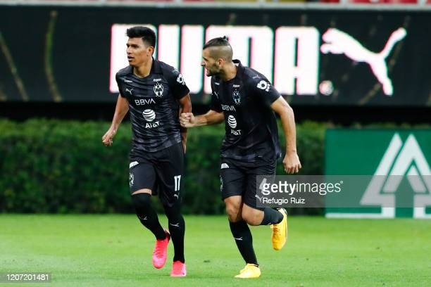Jesús Gallardo of Monterrey celebrates with his teammate Nicolás Sánchez after scoring the first goal of his team during the 10th round match between...