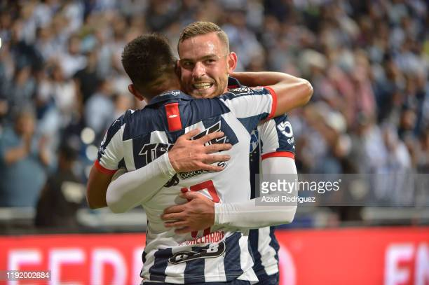 Jesús Gallardo of Monterrey celebrates with teammate Vincent Janssen after scoring his team's first goal during the Semifinals first leg match...