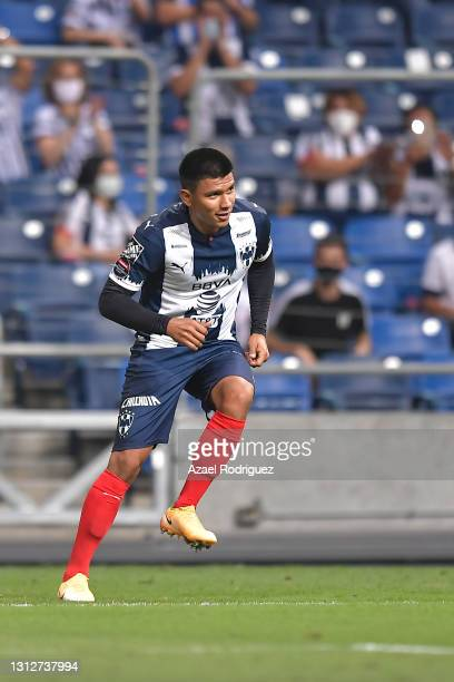 Jesús Gallardo of Monterrey celebrates with teammates after scoring his team's third goal during a second leg match between Monterrey and Atletico...