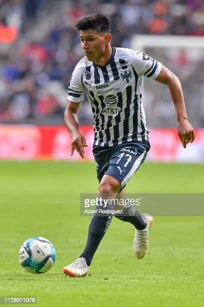 Jesús Gallardo of Monterrey drives the ball during the 6th round match between Monterrey and Lobos BUAP as part of the Torneo Clausura 2019 Liga MX...