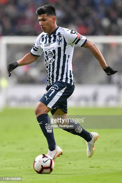 Jesús Gallardo of Monterrey drives the ball during the quarterfinals first leg match between Monterrey and Atlanta United as part of the CONCACAF...