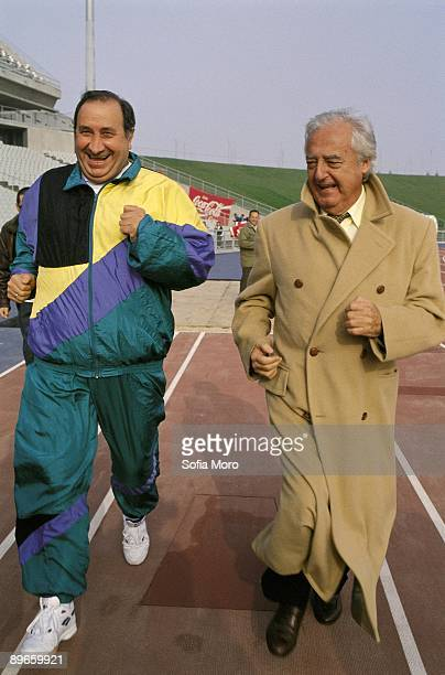 Jesús Gil and Ramon Mendoza in La Peineta Stadium The presidents of the Atletico de Madrid and Real Madrid FC in a beneficent football match of...