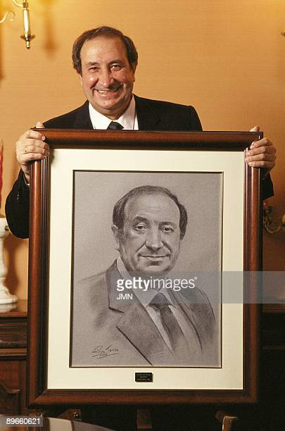 Jesús Gil manager politician and president of the Atletico de Madrid With a portrait of himself