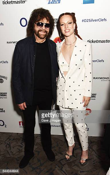 Jess Glynne and Jeff Lynne pose for a photo during the Nordoff Robbins O2 Silver Clef Awards on July 1 2016 in London United Kingdom