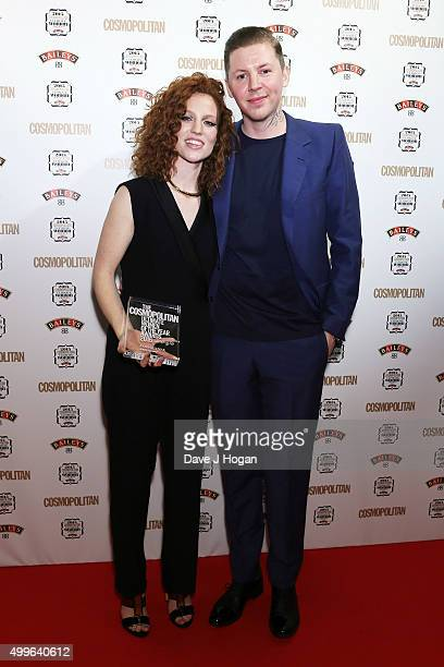 Jess Glynne and Professor Green pose for a photo with the award for Solo Artist during the Cosmopolitan Ultimate Women Of The Year Awards at One...