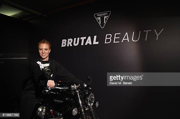 Jess Glynne attends the Global VIP Reveal of the new Triumph Bonneville Bobber on October 19 2016 in London England