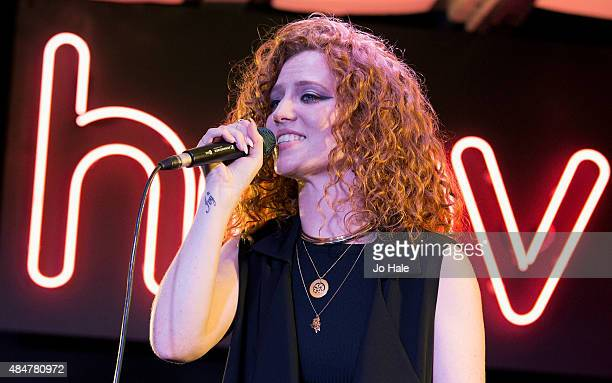 Jess Glynne celebrates the release of her debut album 'I Cry When I Laugh' performing on stage at HMV Oxford Street on August 21 2015 in London...