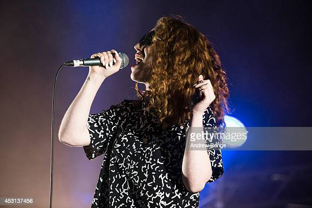 Jess Glynne performs on stage at Kendal Calling Festival at Lowther Deer Park on August 3 2014 in Kendal United Kingdom