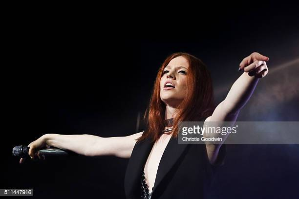 Jess Glynne performs on stage at O2 Academy Brixton on February 20 2016 in London England