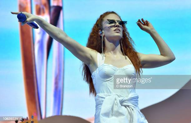 Jess Glynne performs on stage at the O2 Arena on November 20 2018 in London England