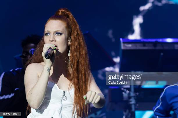 Jess Glynne performs on stage during Fusion Festival 2018 at Otterspool Parade on September 1 2018 in Liverpool England