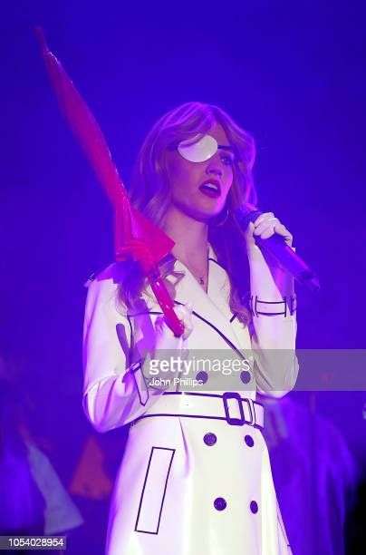 Jess Glynne performs on stage during the KISS Haunted House Party 2018 at The SSE Arena Wembley on October 26 2018 in London England