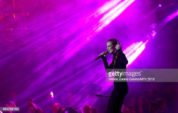 Jess Glynne performs on stage during the MTV EMA's 2015 at the Mediolanum Forum on October 25, 2015 in Milan, Italy.