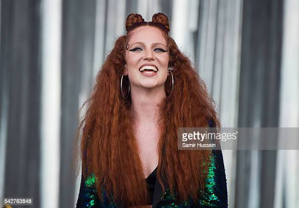 Jess Glynne performs on the Pyramid Stage at Glastonbury Festival 2016 at Worthy Farm Pilton on June 24 2016 in Glastonbury England