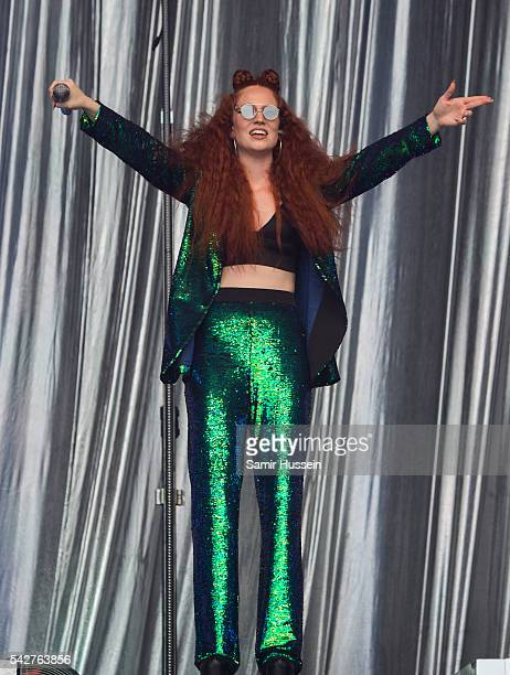 Jess Glynne performs on the Pyramid Stage at Glastonbury Festival 2016 at Worthy Farm Pilton on June 24 2016 in Glastonbury England