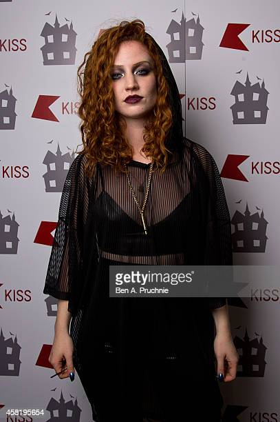 Jess Glynne poses backstage at the KISS FM Haunted House Party at Eventim Apollo Hammersmith on October 31 2014 in London England