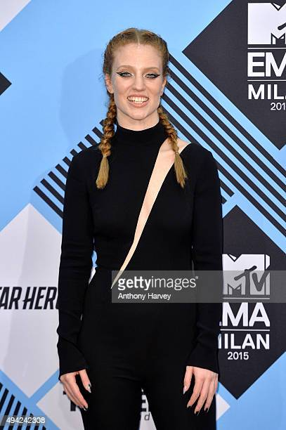 Jess Glynne poses in the Winners Room after performing at the MTV EMA's 2015 at the Mediolanum Forum on October 25 2015 in Milan Italy