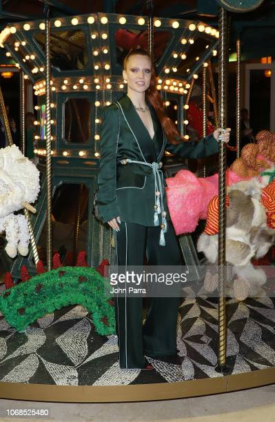Jess Glynne poses infront of artwork by Raul De Nieves presented by Bvlgari Art Production Fund during Art Basel Miami Beach 2018 at Faena Hotel on...