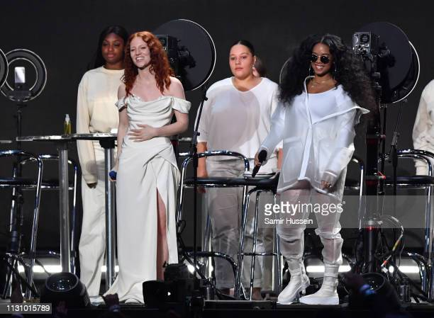 Jess Glynne with HER performs during The BRIT Awards 2019 held at The O2 Arena on February 20 2019 in London England