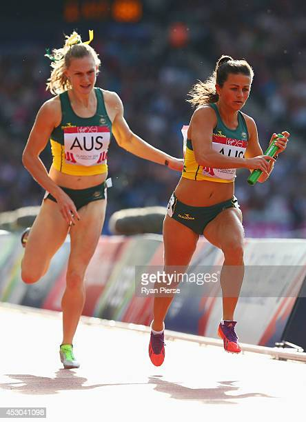 Jess Gulli of Australia competes in the Women's 4x400 metres relay heats at Hampden Park during day nine of the Glasgow 2014 Commonwealth Games on...