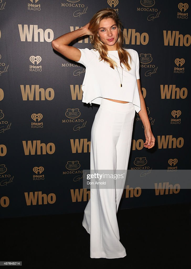 Jess Hart poses at WHO's sexiest people party 2014 at Fox Studios on October 22, 2014 in Sydney, Australia.