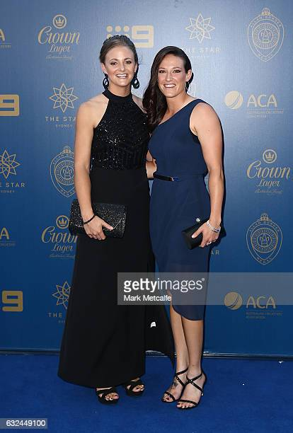 Jess Hollyoake and Megan Schutt arrive ahead of the 2017 Allan Border Medal at The Star on January 23 2017 in Sydney Australia