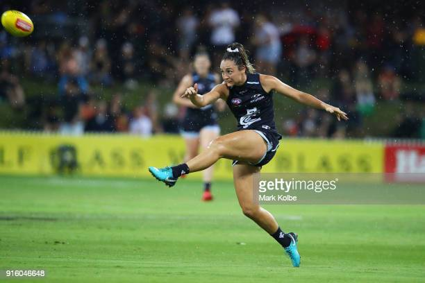 Jess Hosking of the Blues kicks at goal during the round 20 AFLW match between the Greater Western Sydney Giants and the Carlton Blues at Drummoyne...