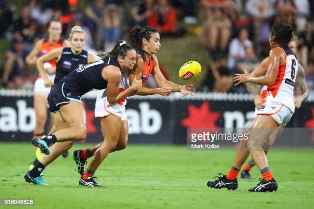Jess Hosking of the Blues tackles Amanda Farrugia of the Giants during the round 20 AFLW match between the Greater Western Sydney Giants and the...
