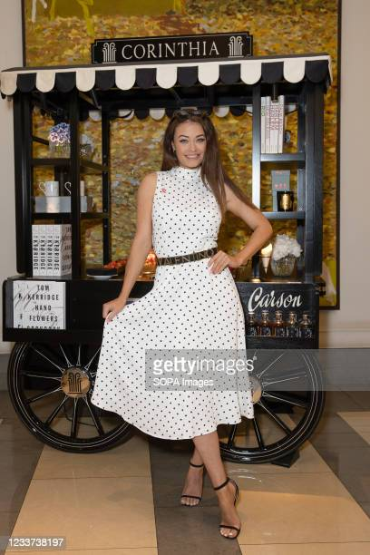 Jess Impiazzi attends afternoon tea at Corinthia Hotel London in aid of Breast Cancer Now hosted by Angie Greaves and Concorde Media.
