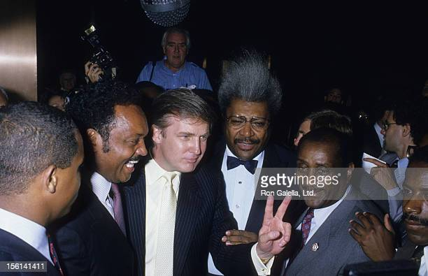 Jess Jackson businessman Donald Trump Fight Promoter Don King and John H Johnson attend Mike Tyson vs Michael Spinks Boxing Match on June 27 1988 at...