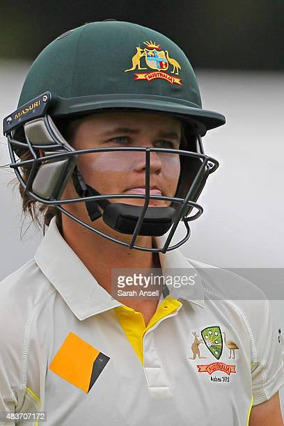Jess Jonassen casts a dejected figure as she leaves the field having been dismissed for 99 runs during day two of the Kia Women's Test of the Women's...