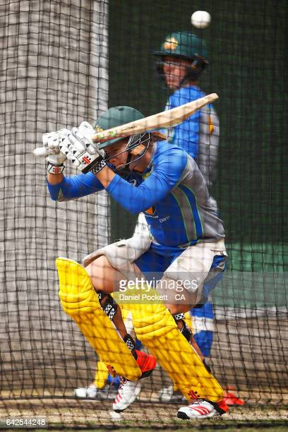 Jess Jonassen ducks a bouncer during a Southern Stars training session at Melbourne Cricket Ground on February 18 2017 in Melbourne Australia