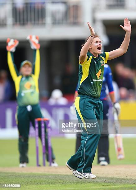 Jess Jonassen of Australia appeals successfully for the lbw wicket of Sarah Taylor of England during the 2nd Royal London ODI of the Women's Ashes...