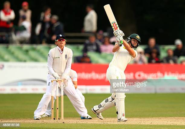 Jess Jonassen of Australia bats during day three of the Kia Women's Test of the Women's Ashes Series between England and Australia Women at The...