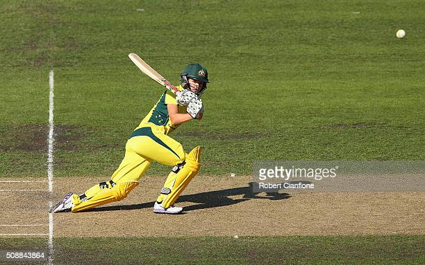 Jess Jonassen of Australia bats during game three of the one day international series between Australia and India at Blundstone Arena on February 7...