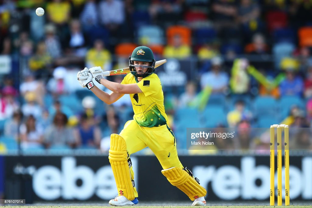 Jess Jonassen of Australia bats during the second Women's Twenty20 match between Australia and England at Manuka Oval on November 19, 2017 in Canberra, Australia.