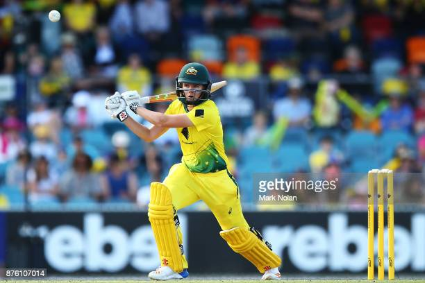 Jess Jonassen of Australia bats during the second Women's Twenty20 match between Australia and England at Manuka Oval on November 19 2017 in Canberra...