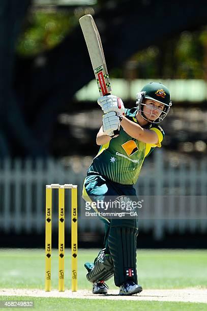 Jess Jonassen of Australia bats during the women's International Twenty20 match between Australia and the West Indies at North Sydney Oval on...