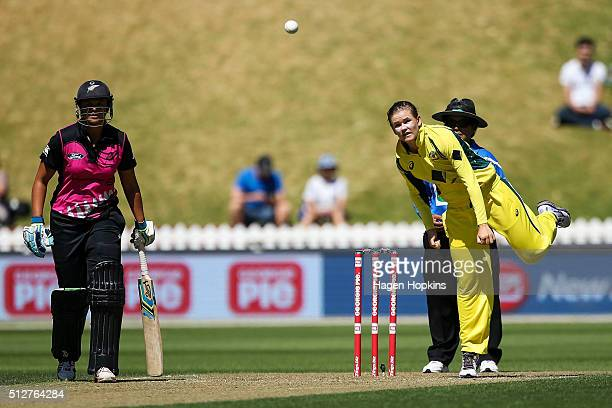 Jess Jonassen of Australia bowls during match one of the TransTasman Twenty20 Series at Basin Reserve on February 28 2016 in Wellington New Zealand